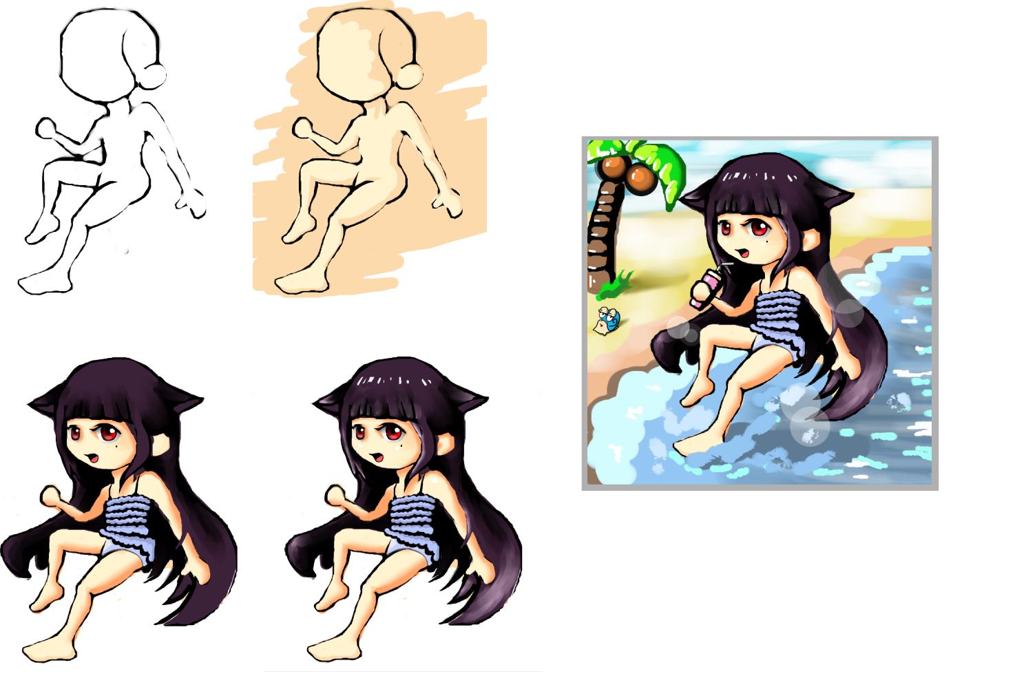 娜娜的沙滩玩水 - 冒险岛游戏贴图区 - 萌芽